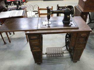 WHITE ROTARY TREDlE SEWING MACHINE CABINET