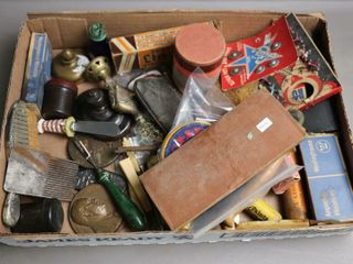 BOX OF lEATHER TOOlS AND MISC COllECTIBlES