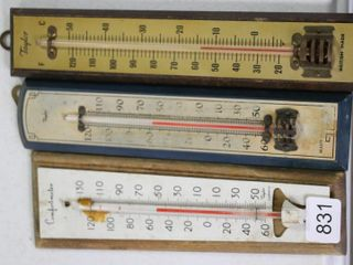 3 THERMOMETERS MOUNTED ON WOOD 2 X8