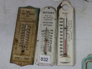 3 TIN THERM0METERS HOGG FUEl  WITTERS AND