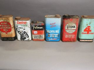 6 ASSORTED MOTOR OIl CANS IMPERIAl QUARTS