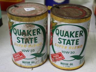 2 QUAKER STATE QUART OIl CANS   EMPTY