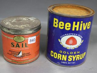 BEE HIVE CORN SYRUP CAN AND SAIl TOBACCO TIN