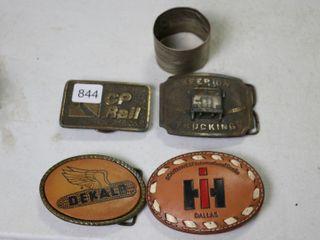 4 BElT BUCKlES AND NAPKIN HOlDER  CP RAIl  DEKAlB