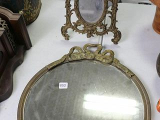 BRASS FRAME MIRROR AND BRASS FRAME TABlE TOP