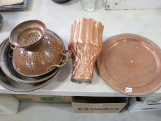 COPPER STRAINERS  PANS ETC 8  TO 13