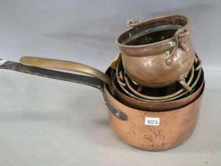 ASSORTED COPPER POTS  6  TO 9