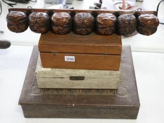 2 WOODEN BOXES  SPOON RACK