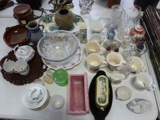 lARGE ASSORTMENT OF VASES  MUGS  SERVING DISHES
