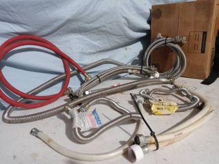 lot of plumbing materials Easy flex  faucet hose and connectors