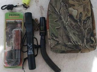Animal Call lot and Hunter camo bag