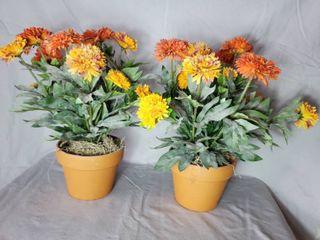 Pair of Marigold Faux Flowers