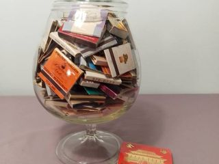 Mega lot of Miscellaneous Matchbooks with Matches in a Glass Jar with lid and Stand