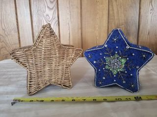 lot of One Blue Star Beaded Box and One Star Wicker Pasket