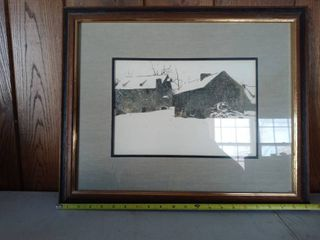 Framed Picture Of A Rustic Winter Scene