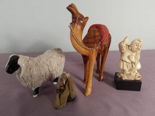 lot Of 4 Miscellaneous Trinkets   Ceramic Sheep   Wooden Camel   Man With Fish   Small Ceramic Man