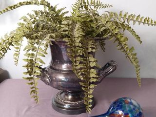 Silver Plated Roman Styled Planter with Plastic Foliage and Glass Plant Water Keeper