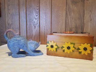 Cute Wooden Black Eyed Susan Box with Handle and Wooden Stretching Cat
