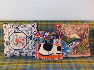 lot of 3 Vintage Needlepoint Pillows