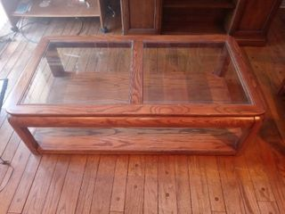 Beautiful Vintage Wooden Double Glass Topped Coffee Table On Wheels