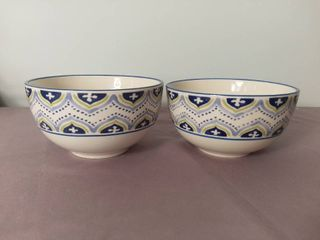 lot of 2 Blue Green and lavender Threshold Quality   Design Target Home Stoneware Clifton China Bowls