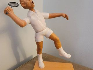 TENNIS PlAYER MAlE by Romer Italy Wooden Figurine 12 75 inches tall