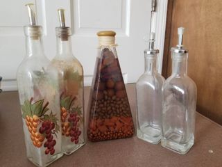 lot of Four Oil Dispensers and Decor