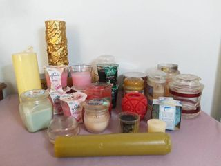 Small lot of Various Sized Candles in Glass and Other Containers