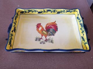 Rooster Temp tations Ovenware with Metal Stand