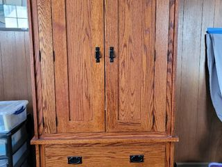Daniels Amish Furniture Wardrobe  Contents Not Included  Comes with 2 additional Shelves to Replace Clothing Bar if Preferred
