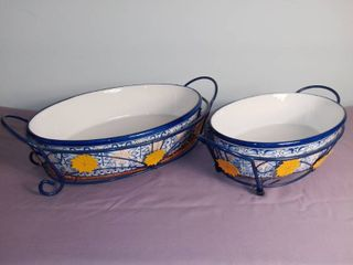 lot Of 2 Temp tations Presentable Ovenware By Tara With Metal Stand   2 Oval Casserole Dish With Floral Design W  Metal Dish Stand