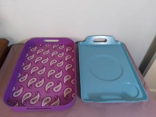 lot of 2 Plastic Serving Party Trays with Handles   Purple with Paisley Accents and Blue with Glass and Plate Indents