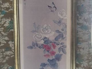 Framed Print of Japanese Flowers with a butterfly and Japanese Writing   Blue and White with Red Accents