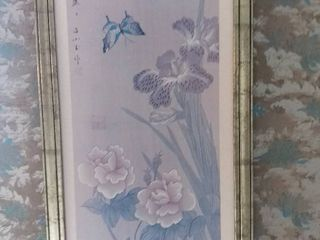 Framed Print of Japanese Flowers with a butterfly and Japanese Writing   lily Flowers and Bright Blue Accents