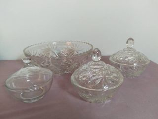 lot of 3 Star of David Etched Crystal Items and 1 Glass Item   Punch Salad Bowl and 3 Candy Dishes