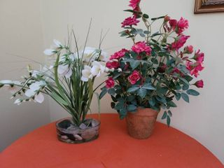 lot of 2 Faux Flowers  Pink Rose Bush and White Pond Buds