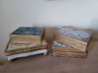 lot of 4 Made in Italy Painted Jewely Boxes