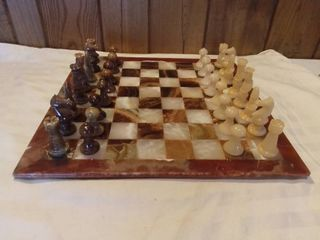 Complete Soapstone Alabaster Chess Set