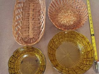 Set of Two Regaline Bowls and lot of Two Nice Baskets