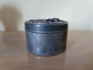 Pewter Round Jewelry Case with Frog