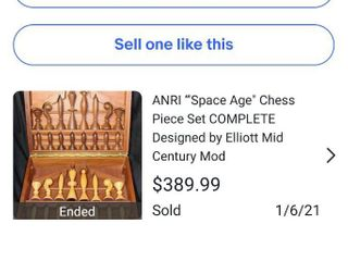 Vintage Complete Set Of Anri Space Age Chess Pieces