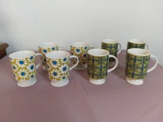lot of 8 Glass Ceramic Coffee Cups with Stems and Handles   Blue and Yellow Daisy Design and Blue and Green Symbol Design
