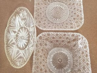 lot of Three Novelty Crystal Corps New York  1980  Faux Crystal Serving Dishes