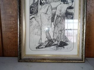 Nice Framed Charcoal Drawing
