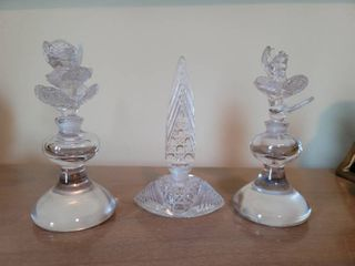 lot of 3 Cut to Clear Glass Perfume Bottles  See Photos for Condition