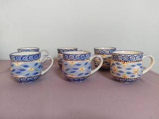 lot of 6 Temp tations Presentable Ovenware by Tara Old World Pattern 12oz Mugs Oven Dishwasher and Microwave Safe