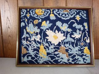 Very Cool Framed Floral Needle Point Picture