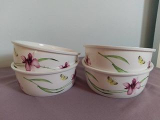 lot of 4 lock   lock Glass Ceramic Bowls Oven Dishwasher and Microwave Safe Made in China