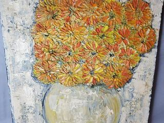 Oil Painting on Canvas  Orange and Yellow Flowers in Pot  Balkin 67