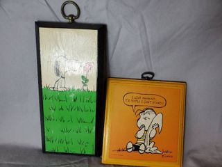 lot of 2 Peanuts Wall Decor  Charlie Brown and Snoopy